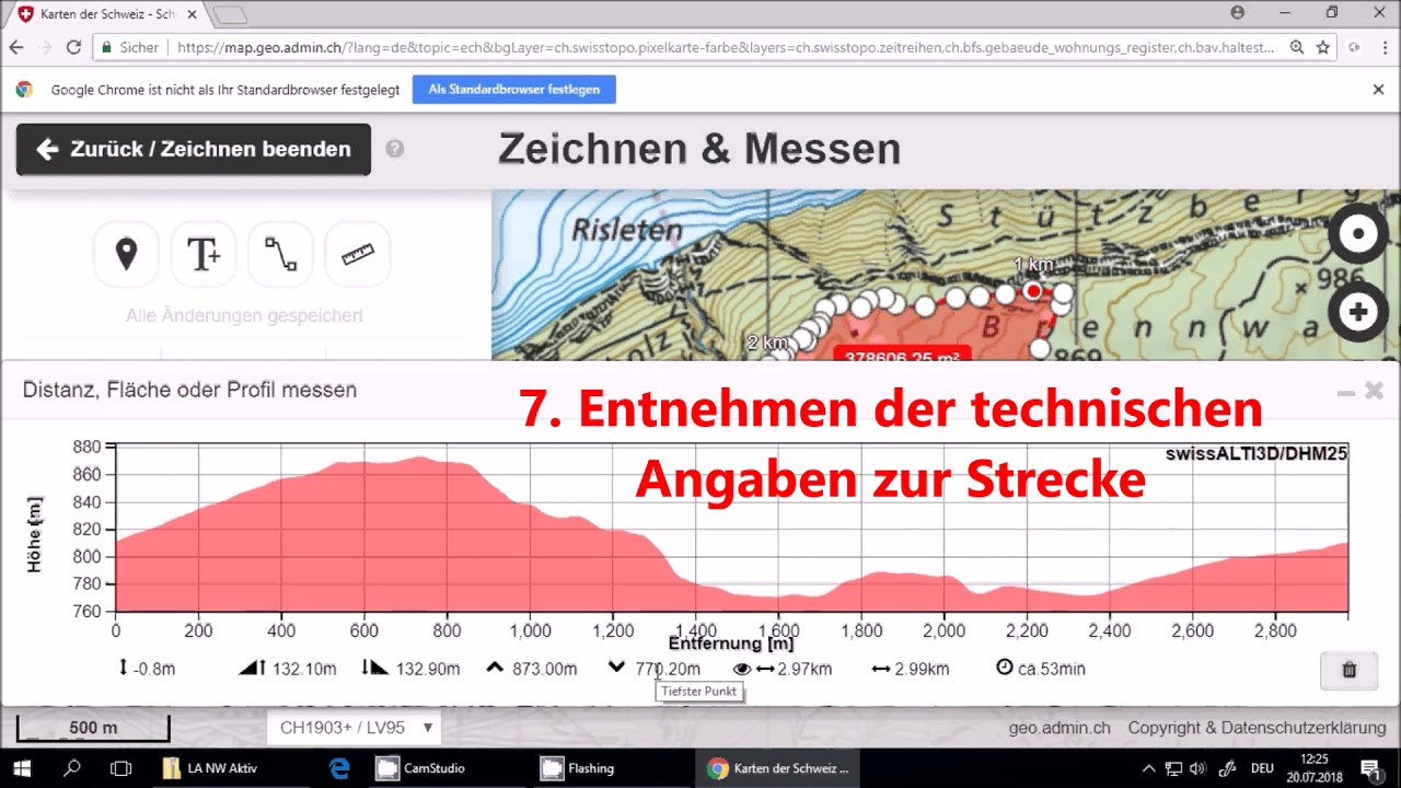 Anleitung Routenplanung mit map.geo.admin.ch - YouTube on