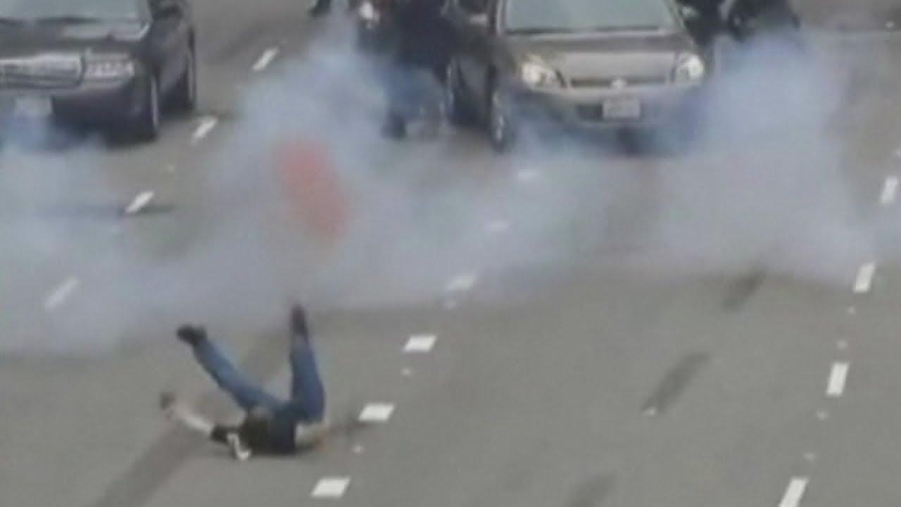 Dramatic anti-terror drill video: SWAT teams and bomb squads 'kill terrorists in LA street'
