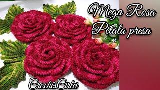Mega Rosa Pétala Presa – Flor De Crochê