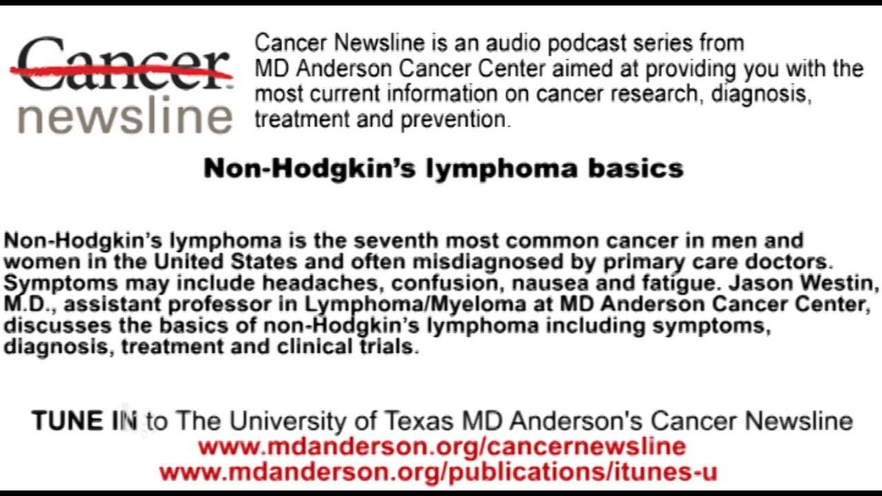 non hodgkins lymphoma cancer basics youtubenon hodgkins lymphoma cancer basics