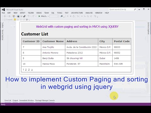 How to implement Custom Paging and sorting in webgrid using jquery