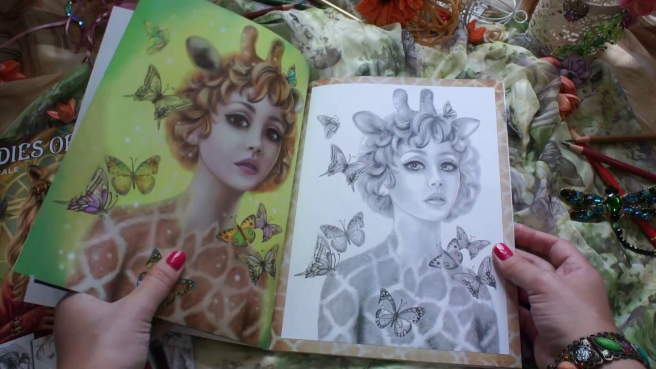 Grayscale Coloring Book Ladies Of Nature By Alena Lazareva Full Color Illustrations