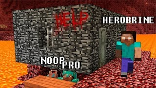Minecraft Noob vs. Pro vs. Herobrine SCARY HOUSE challenge - funny Minecraft Battle