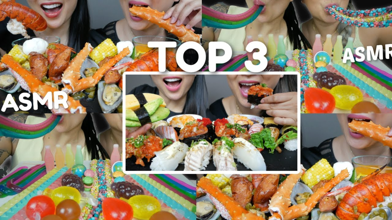 ASMR CANDY, SEAFOOD AND SUSHI *TOP 3 Sister Compilation N.E & SAS ASMR Relaxing Eating Sounds