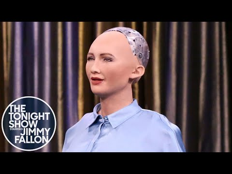 Tonight Showbotics: Jimmy Meets Sophia The Human-Like Robot