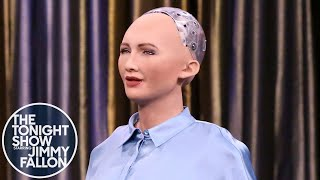Jimmy Fallon demos amazing new robots from all over the world, including an eerily human robot named Sophia that plays rock-paper-scissors.  Subscribe NOW to The Tonight Show Starring Jimmy Fallon: ht