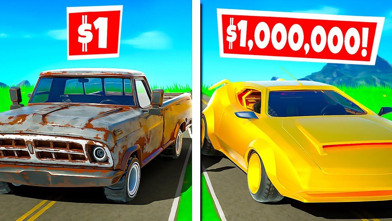 $1 CAR vs. $1,000,000 CAR?! (Fortnite Challenge)