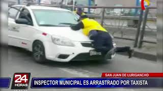 Inspector Municipal fue arrastrado por taxista que intentó huir de intervención