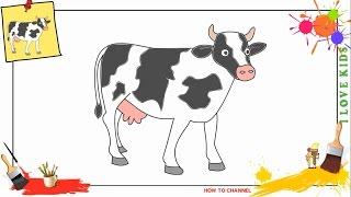 How to draw a cow SIMPLE & EASY step by step for kids, beginners, children