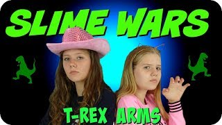 SLIME WARS T-REX ARMS    CHALLENGE    Taylor and Vanessa