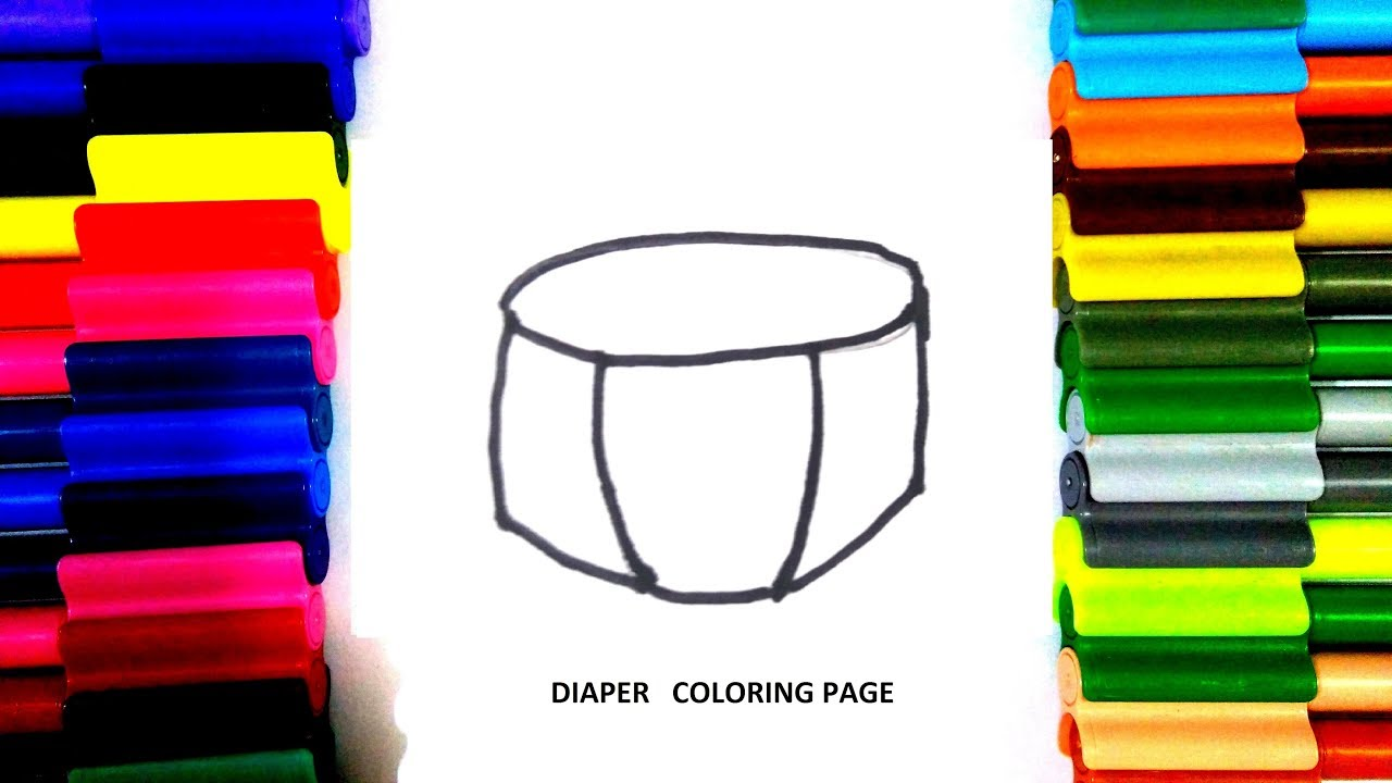 Baby diaper coloring pages for kids - YouTube