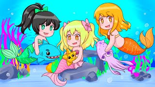 Three BABY MERMAIDS Adopt Ocean Pets in Roblox!