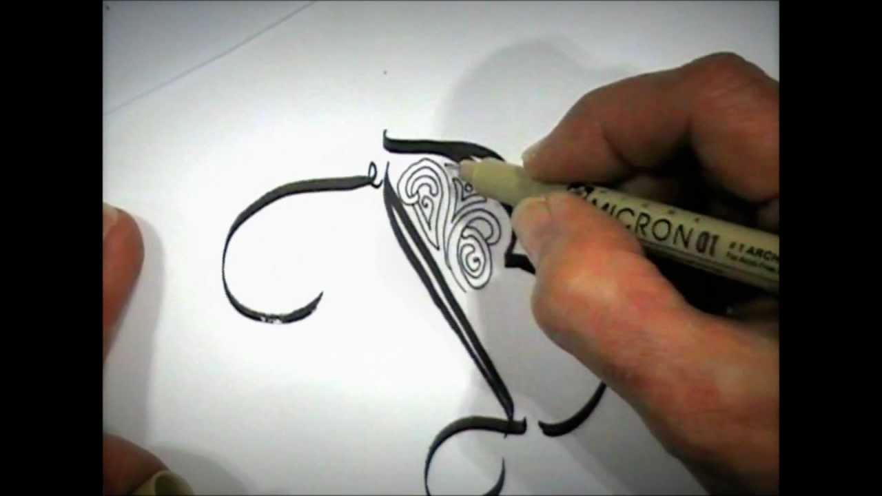Maria thomas calligraphy zentangle patterning with pigma