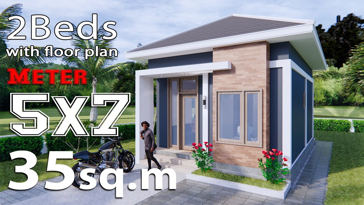 Small House Design 5x7 Meters 35sq m Hip Roof