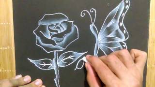 Como dibujar una flor y mariposa, How to draw a flower and butterfly