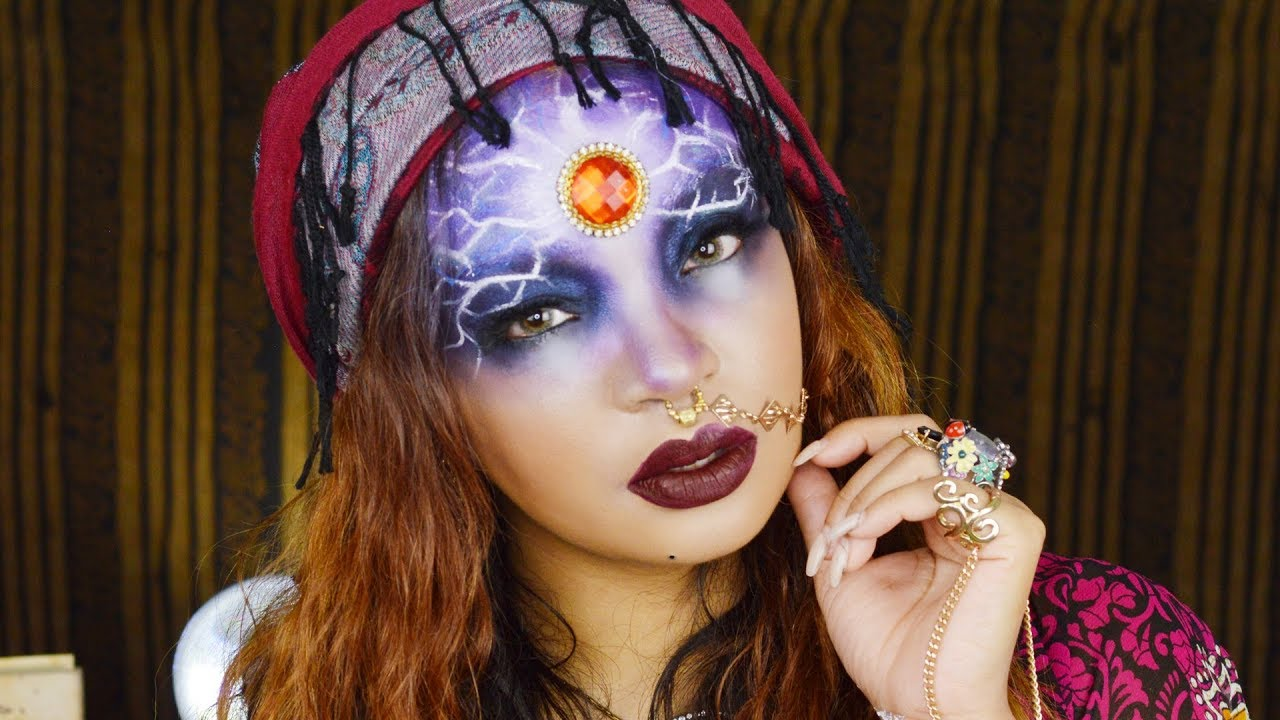 GYPSY WITCH HALLOWEEN MAKE UP TUTORIAL   LINGYWASHERE - YouTube