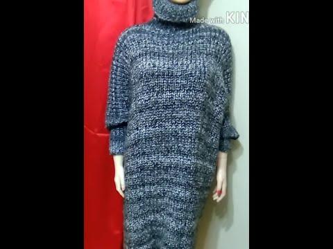 Чрезвычайно стильное и простое в исполнении платье оверсайз, связанное спицами.