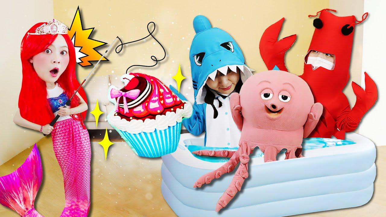 「角色扮演」 女巫的神秘藥水灑出來了!超大海洋生物在人魚公主小伶家開派對?Pretend Play with Mermaid Princess 小伶玩具 | Xiaoling toy