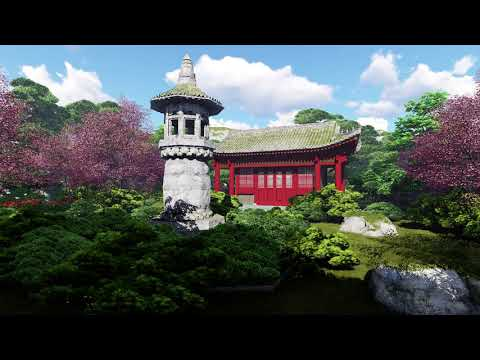 ( CGI 4k Stock Footage ) Japansese asian buddhist architecture temple zen garden 7