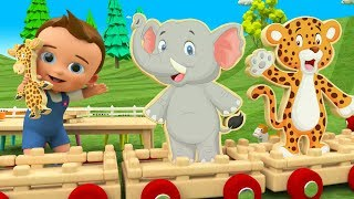 Animal Wooden Toy Train Transport 3D | Learn Animals Names for Children Little Baby Fun Play Kids