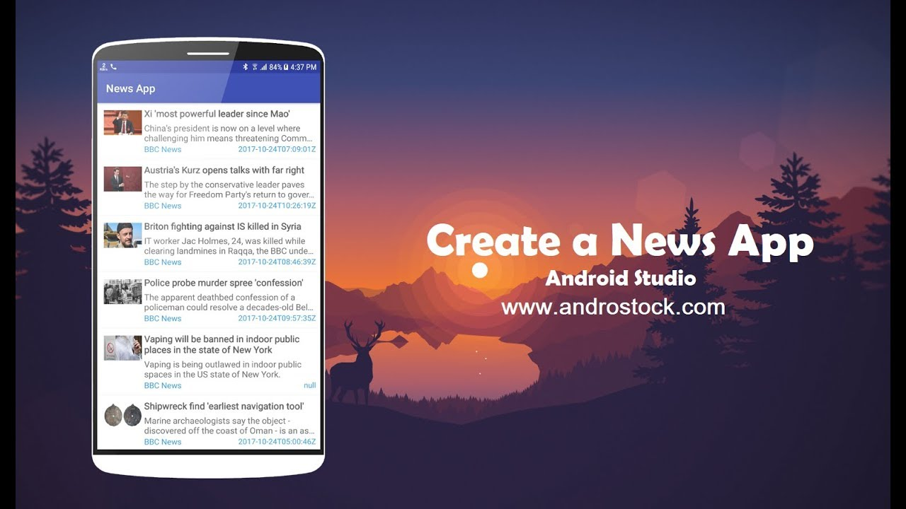 Create a News App on Android - Android Studio - Androstock