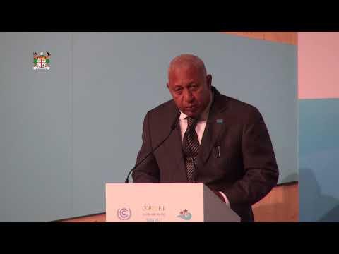 Fijian Prime Minister & COP President 1st Press Confrence