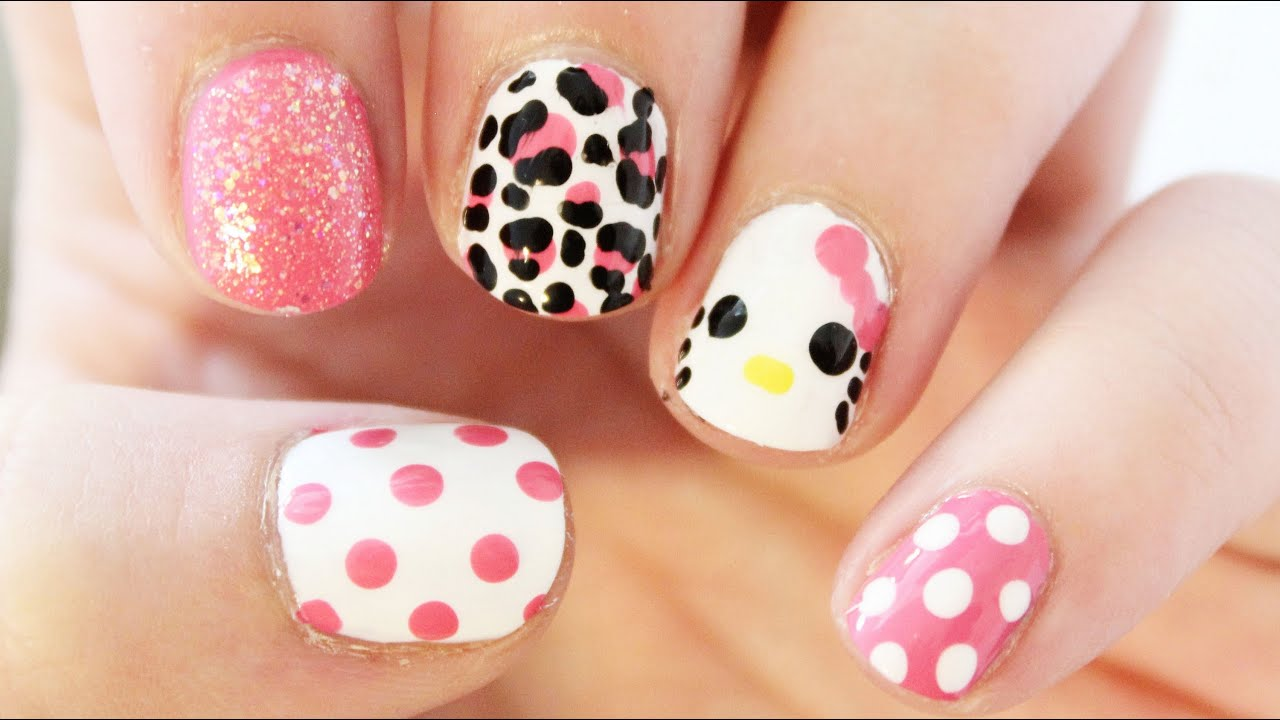 Hello Kitty Mix and Match Nail Art | TotallyCoolNails - YouTube
