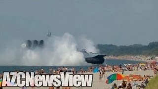 Russian Navy Hovercraft Lands On Busy Beach (PART ONE)