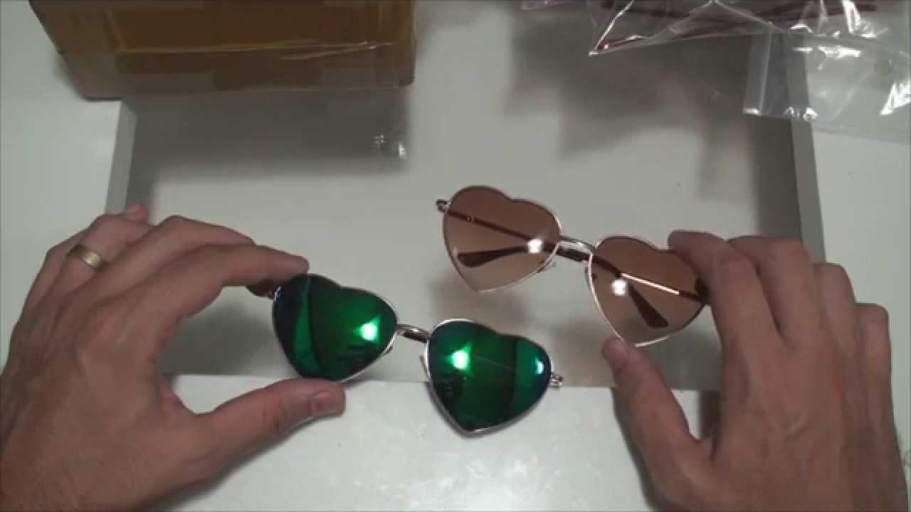 UNBOXING - ALIEXPRESS -  004 - 2 Óculos de Sol modelo em formato de coração  - PT-BR 57387b1ed5