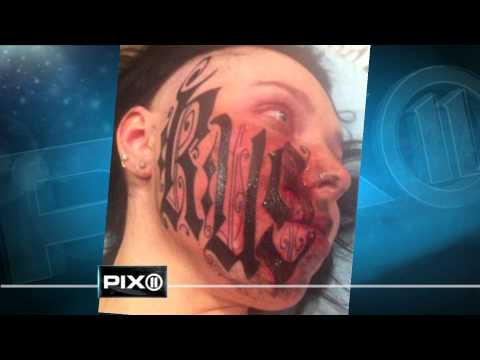 Woman lets boyfriend tattoo his name on her face in bizarre love story