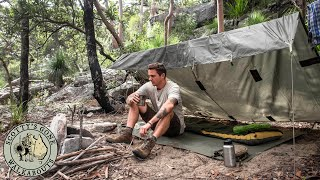 Aussie Bushcraft Camp- Hootchie Tarp, Wool Blanket, Bush Tucker