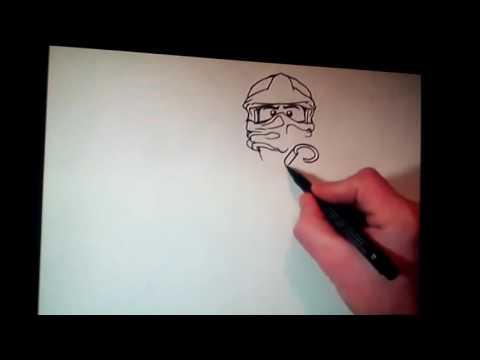 Как нарисовать Кая ZX из Лего Ниндзяго мастера кружитцу