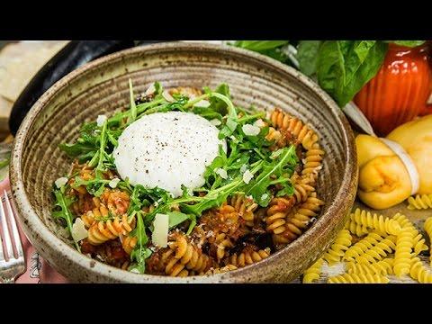 Chef Antonia Lofaso's Fusilli with Roasted Eggplant Recipe  Hallmark Channel