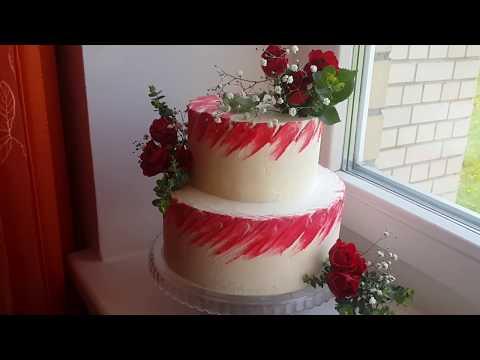 Двухъярусный торт с живыми цветами как выровнять собрать и украсить свадебный двухъярусный торт
