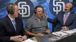 LAD@SD: Greg Maddux visits the Padres' booth