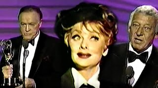 Lucille Ball receives Emmy (posthumously) - 1989 w. Bob Hope & Gary Morton