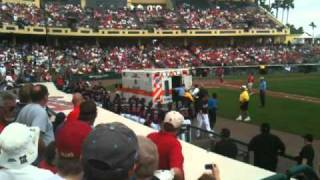 Luis Salazar gets loaded in a ambulance after getting hit in the face by Brian McCann