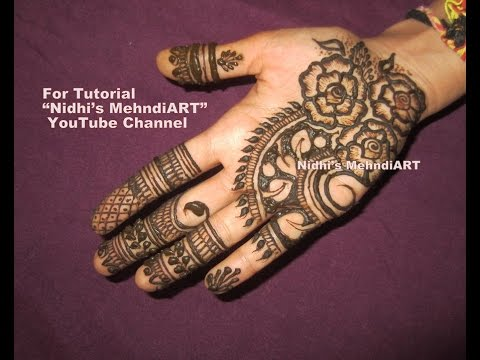 Simple Mehndi For Right Hand : Shaded rose flowers leaf front right hand henna mehndi design