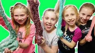 Giant Slime Birthday Party!! Daisy and Friends make Fluffy slime and sparkle slime!! 10th birthday