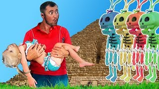Baby plays hide and seek with funny Skeletons - Funny Haloween Video for Kids
