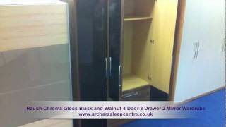 Rauch Chroma Gloss Black And Walnut 4 Door 3 Drawer 2 Mirror Wardrobe