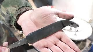 Тест клинка из стали ШХ-15 пр-ва СССР, твердость 61 HRC