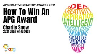 Charlie Snow on How to Win an APG Award