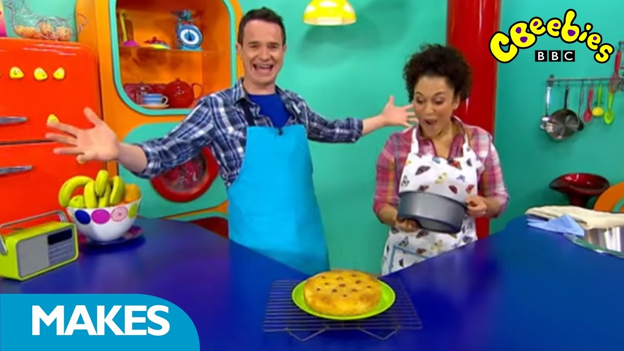 Cbeebies Presenters Make Pineapple Upside Down Cake