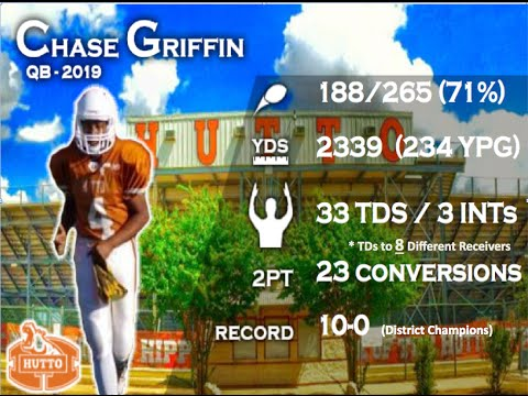 Chase Griffin (QB 2019)- Hutto HS (TX)  (All 56 Scoring Passes)