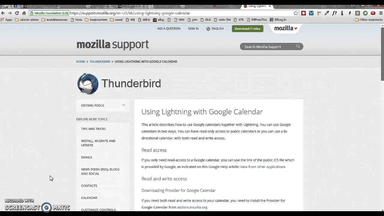 Thunderbird Lightning Google