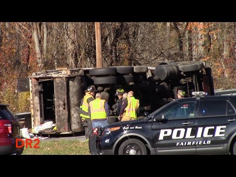 Fairfield Fire Department Over Turned Garbage Truck Route 46 West 11-14-16