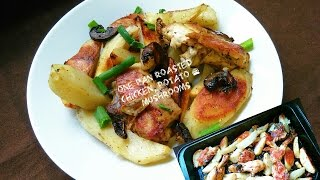 One Pan Garlic Roasted Chicken, Potato Wedges & Mushrooms