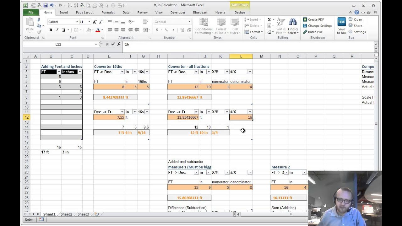 Excel training ft and inch calculator youtube for How to add square feet