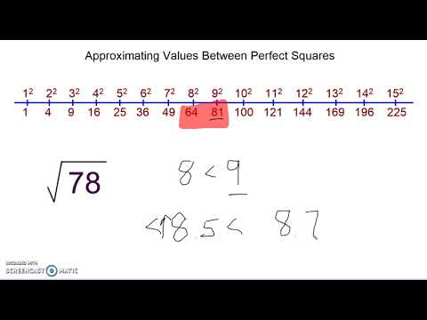 Approximating values between perfect squares